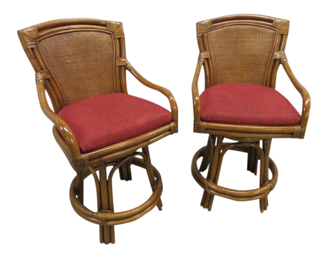 Rattan Bamboo Leather Swivel Bar Stools   A Pair