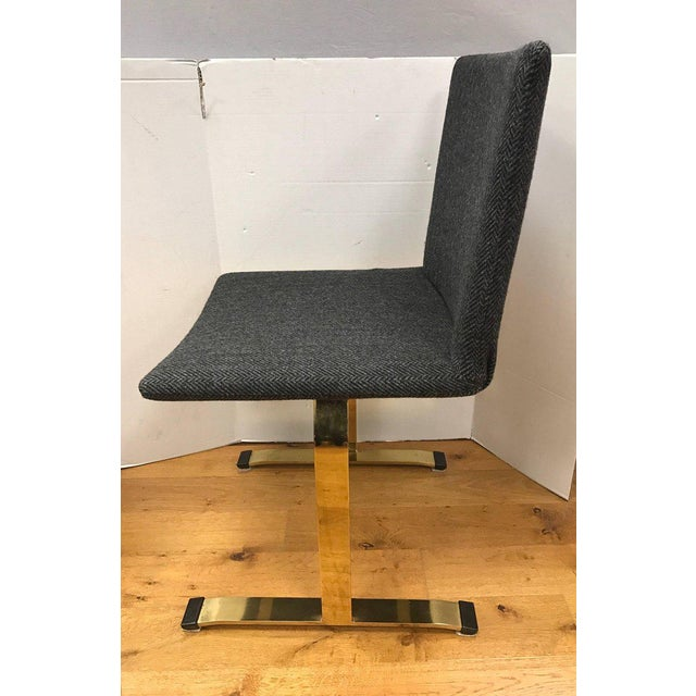 Set of Giovanni Offredi Saporiti Italia Brass Dining Chairs Mid-Century Modern For Sale - Image 4 of 7