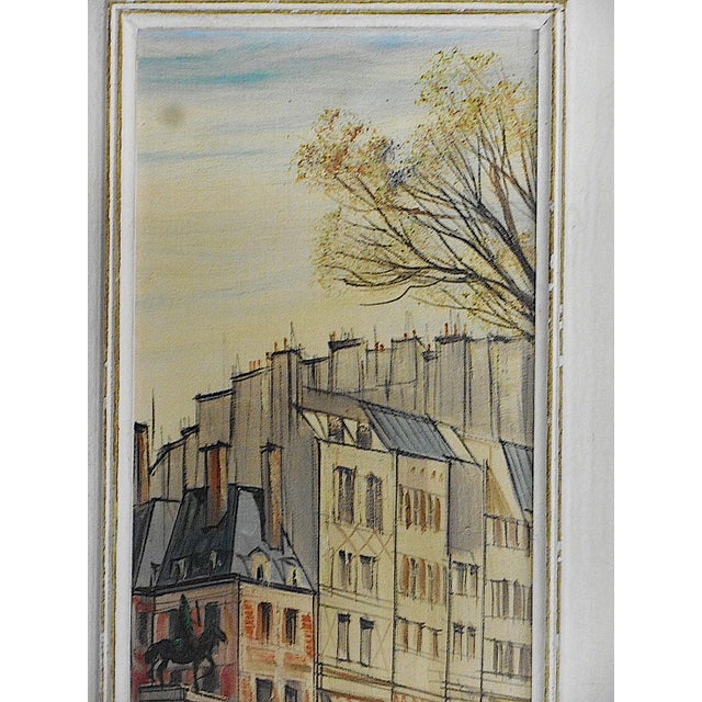 "Modern Original Mid Century Signed Oil On Canvas-Paris View-""Le Vert Galant""-Listed French Artist For Sale - Image 3 of 5"