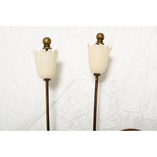 Metal Flower-Shaped Italian Wall Sconces - a Pair For Sale - Image 7 of 8