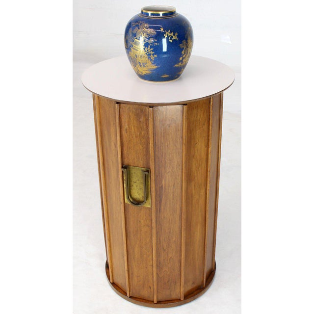 White Round Cylinder Shape Pedestal Bar Cabinet Storage Cabinet With Brass Hardware For Sale - Image 8 of 12