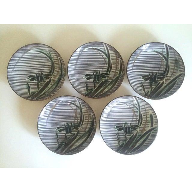 Vintage Mid-Century Modern Occupied Japan Irises Ceramic Plate Bowls - 5pc Set For Sale - Image 11 of 11