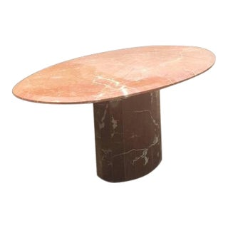 1970s Mid-Century Modern Pink Marble Dining Table For Sale