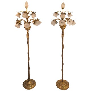 Pair of Neoclassical Style Bronze and Gilt Metal Ten Lights Standing Lamps For Sale