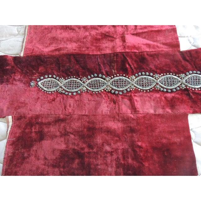 19th century Ottoman Empire Persian silver metallic threads embroidered textile. Silver on burgundy color silk velvet....