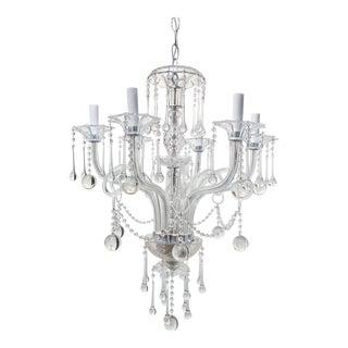 Vintage Venetian Crystal Chandelier With Teardrop Crystals For Sale