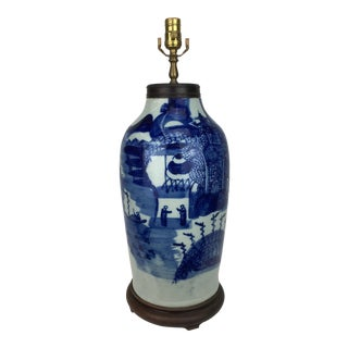 19 Century Chinese Blue & White Traditional Landscape Vase Lamp For Sale