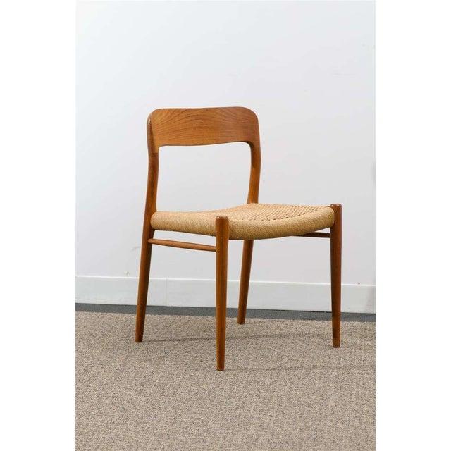 Niels Otto Møller Stellar Original Set of Eight Moller #75 Chairs in Teak For Sale - Image 4 of 10