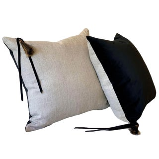 Contemporary Black Velvet and Linen Pillows - a Pair For Sale