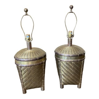 Pair of Chapman Asian Style Woven Brass Lamps For Sale