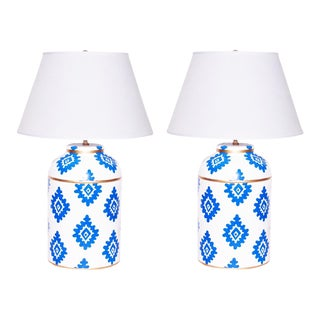 Navy Block Print Lamps - a Pair