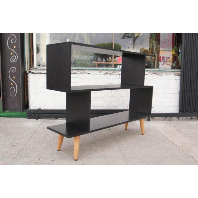 Mid-Century Modern Ebonized Oak Zig-Zag Bookcase For Sale - Image 13 of 13