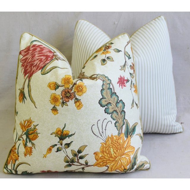 "Schumacher Arbre Fleuri Floral & Ticking Feather/Down Pillows 20"" Square - Pair For Sale - Image 11 of 13"