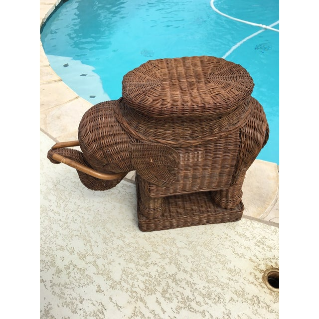 Boho Chic Vintage Wicker Rattan Elephant Plant Stand Table For Sale - Image 3 of 6