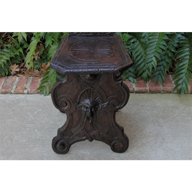 Mid 19th Century Mid 19th Century Antique Italian Carved Walnut Sgabello Chair For Sale - Image 5 of 13