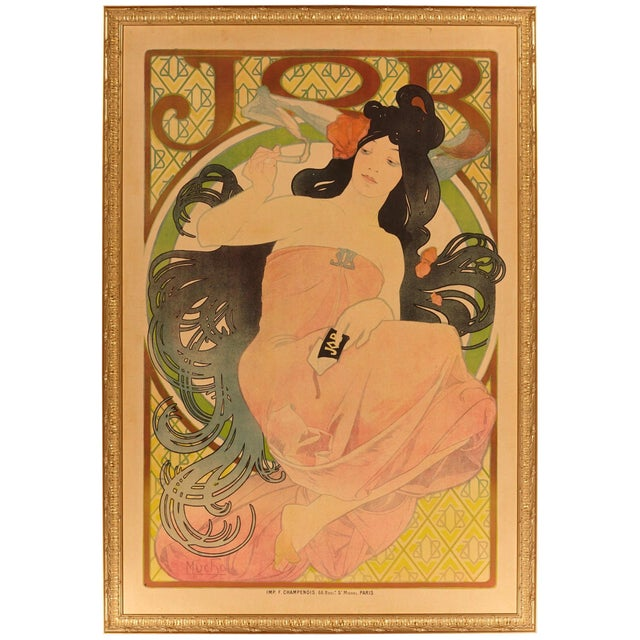 "Paper Late 19th Century Alphonse Mucha Original ""Job"" Poster For Sale - Image 7 of 7"