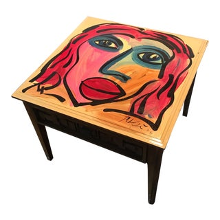 1974 Peter Keil Abstract Painting Table For Sale