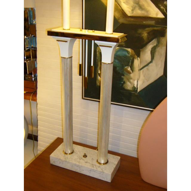 1950s 1950s Modernist Columnar Lamp With White Marble Base For Sale - Image 5 of 8