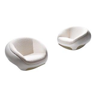 1960s Mario Sabot Sculptural Fiberglass Lounge Chairs in Bouclé - a Pair For Sale
