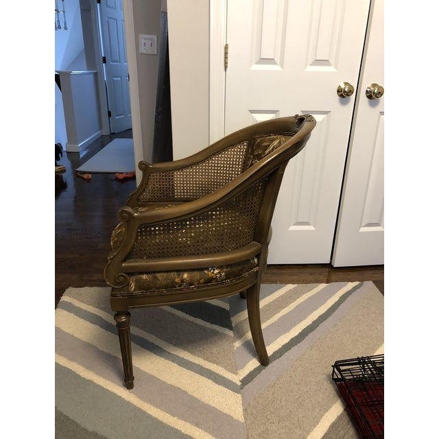 Antique Accent Chair With Caned Side Panels For Sale - Image 4 of 6