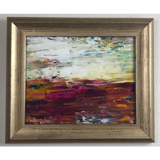 """""""Warm Horizon"""" Contemporary Abstract Expressionist Acrylic Painting, Framed For Sale - Image 9 of 9"""