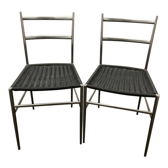 "1960s Gio Ponti Style ""Superleggera"" Chairs - a Pair For Sale"