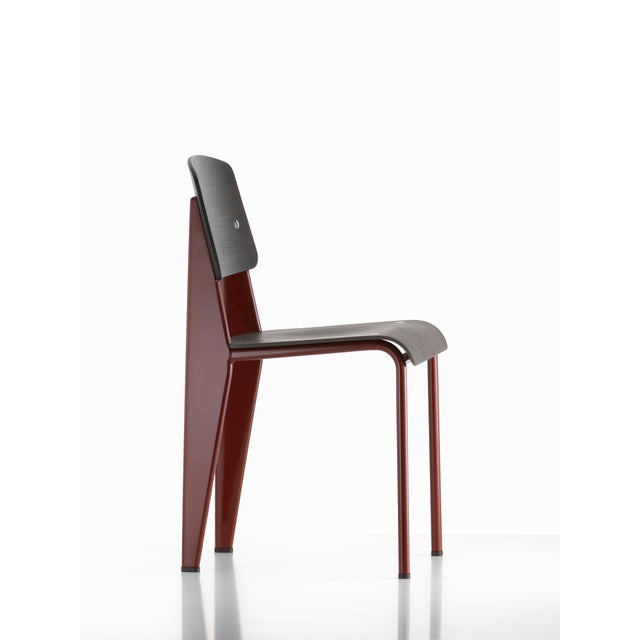 Vitra Jean Prouvé Standard Chair in Dark Oak and Red Metal for Vitra For Sale - Image 4 of 5