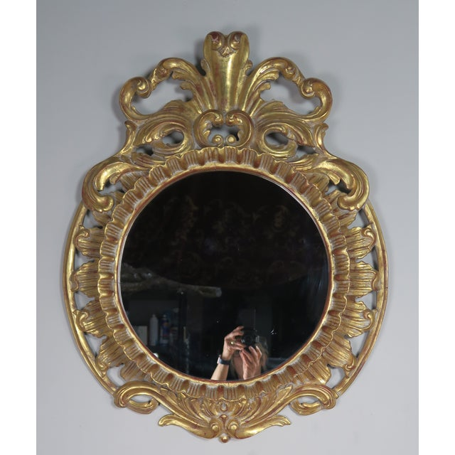 Rococo French Gilt Wood Rococo Style Round Shaped Mirror For Sale - Image 3 of 11