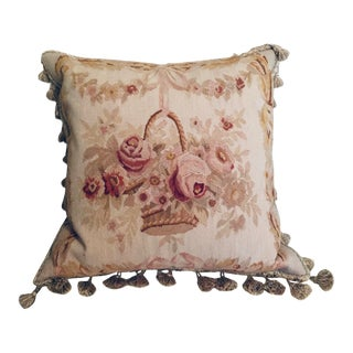 Vintage French Aubusson Tapestry Pillow For Sale