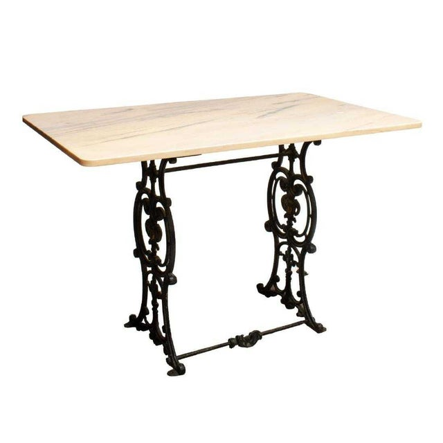 French 20th Century French Marble & Cast Iron Bistro Table For Sale - Image 3 of 12
