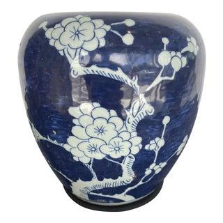 18th Century Blue and White Urn Blue Cherry Blossom Plum Flower Motive For Sale