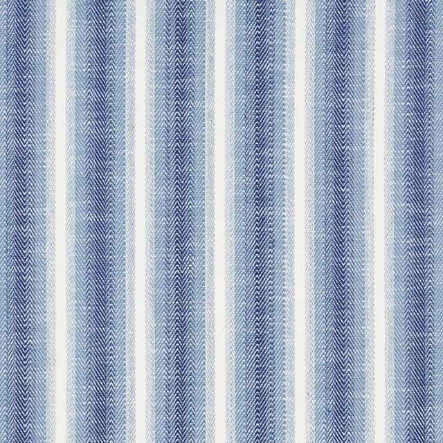 Schumacher Colada Stripe Indoor/Outdoor Fabric in Blue For Sale