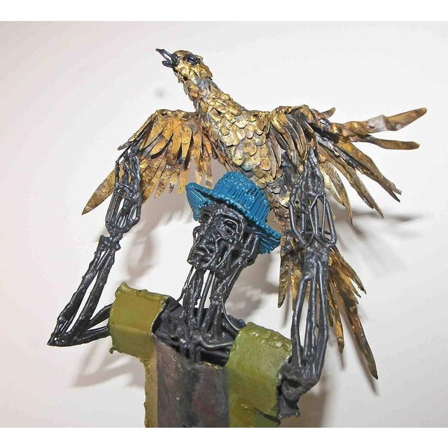 1960s 1960s Abstract Bob Fowler Metal Art Work Sculpture of Man Holding Eagle For Sale - Image 5 of 11