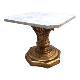 Hollywood Regency Marble Side Table For Sale
