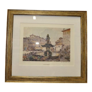 "Vintage Italian ""Piazza Barbarini "" Watercolor Print Custom Framed"