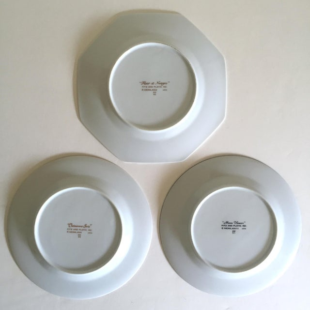 Fitz & Floyd Japan Vintage Contemporary Modernist Floral Porcelain Dessert Plates - Set of 3 For Sale - Image 9 of 11
