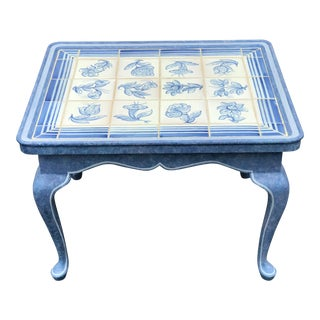 1980s French Blue Delft Style Coffee End Table For Sale
