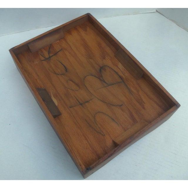 Vintage Industrial Oak Desk Letter Basket Tray For Sale - Image 4 of 5