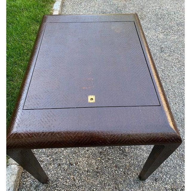 Metal Vintage Karl Springer Grasscloth Covered Backgammon Table For Sale - Image 7 of 11