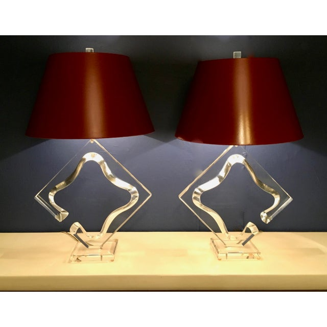 Acrylic Vintage Signed Van Teal Acrylic Mid-Century Lamps - a Pair For Sale - Image 7 of 13
