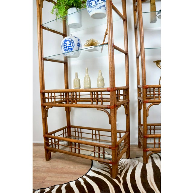 Brown McGuire Style Rattan Etageres - A Pair For Sale - Image 8 of 11