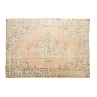 "Vintage Distressed Oushak Carpet - 6'2"" X 8'9"" For Sale"