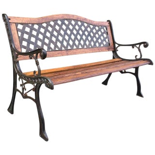 20th Oak and Cast Iron Garden or Park Bench For Sale