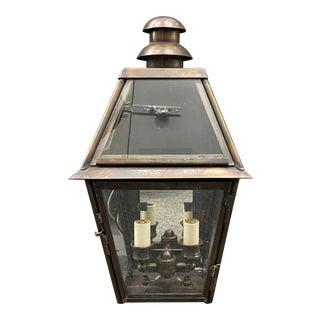 Custom Natural Brass Exterior Sconce Light Fixture For Sale