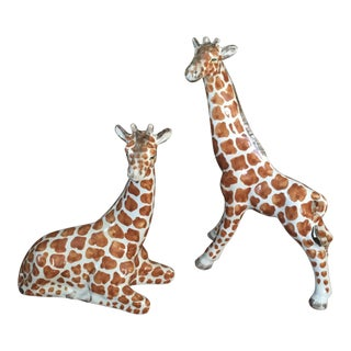 1990s Vintage Chelsea House Porcelain Giraffe Figurines- A Pair For Sale