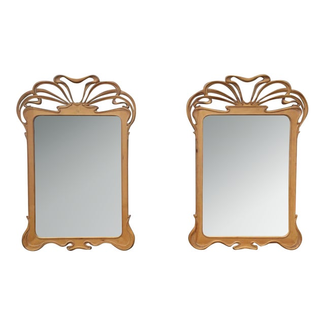 Art Nouveau Carved Wall Mirrors - A Pair - Image 1 of 6