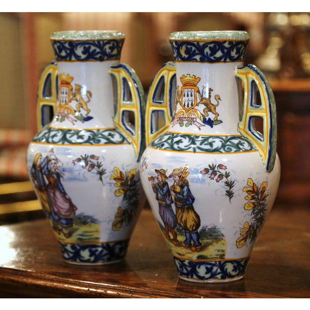 French 19th Century French Hand Painted Faience Vases Signed Hr Quimper - a Pair For Sale - Image 3 of 11