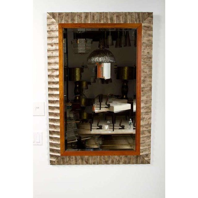 Contemporary John Black for Baker Silver Leaf Fluted Frame Mirror For Sale - Image 3 of 7