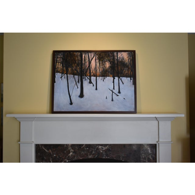 """2000s Stephen Remick """"Sunrise in the Snowy Woods"""" Painting For Sale - Image 5 of 13"""