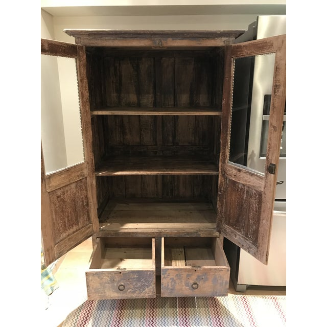 Antique Indian Wood Cabinet With Glass Doors Image 4 Of 13